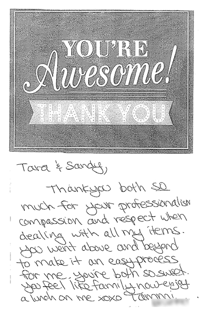 Thank You Card from Tammi